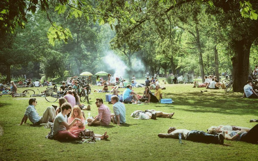 People relaxing at the Vondelpark in Amsterdam