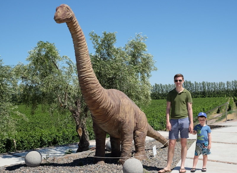 Dinosaur and vineyards with father and son in Argentina