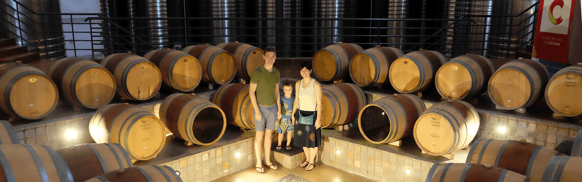 family at winery in argentina with kids