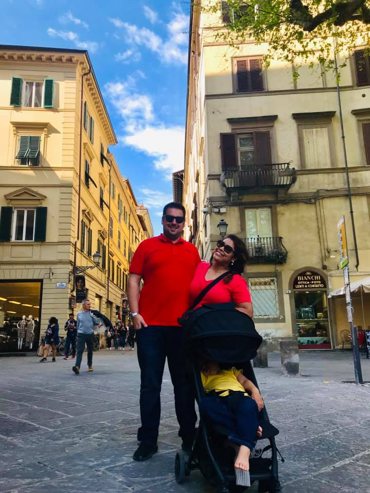 Parents with toddler in Lucca Italy