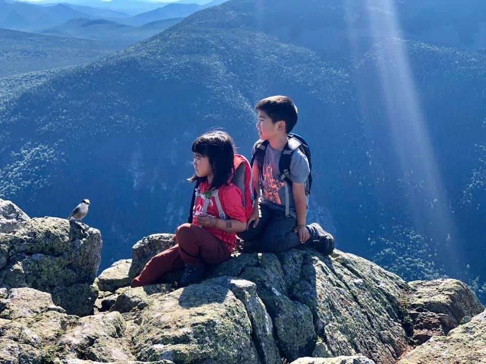 Ray Yang son and daughter hiking mountains