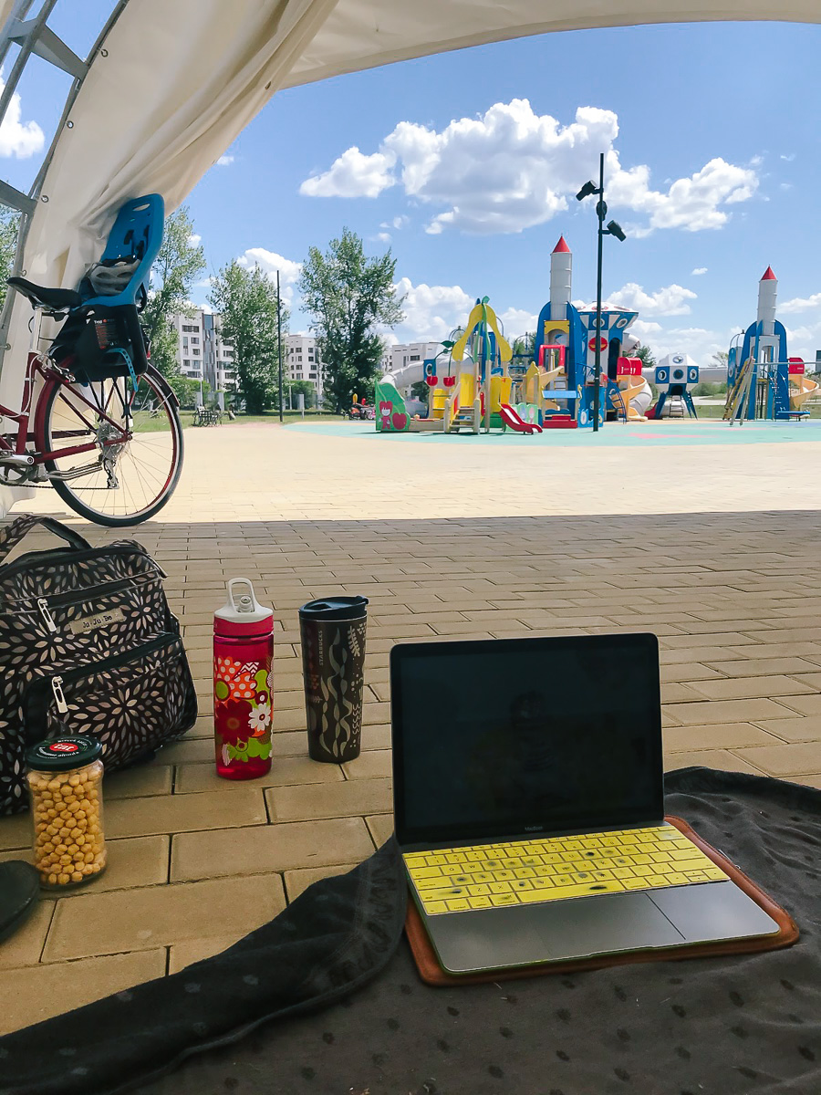 While offices are closed due to the pandemic, this outdoor working space is a useful respite for many parent faculty members at Nazarbayev University in Kazakhstan