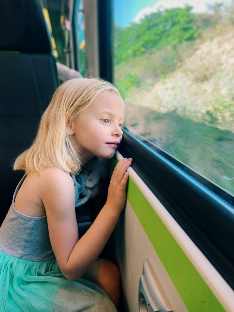 little girl gazing out train window