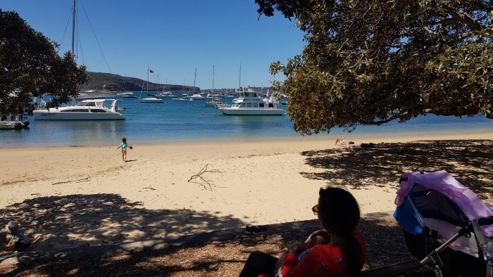 balmoral beach in sydney with a baby