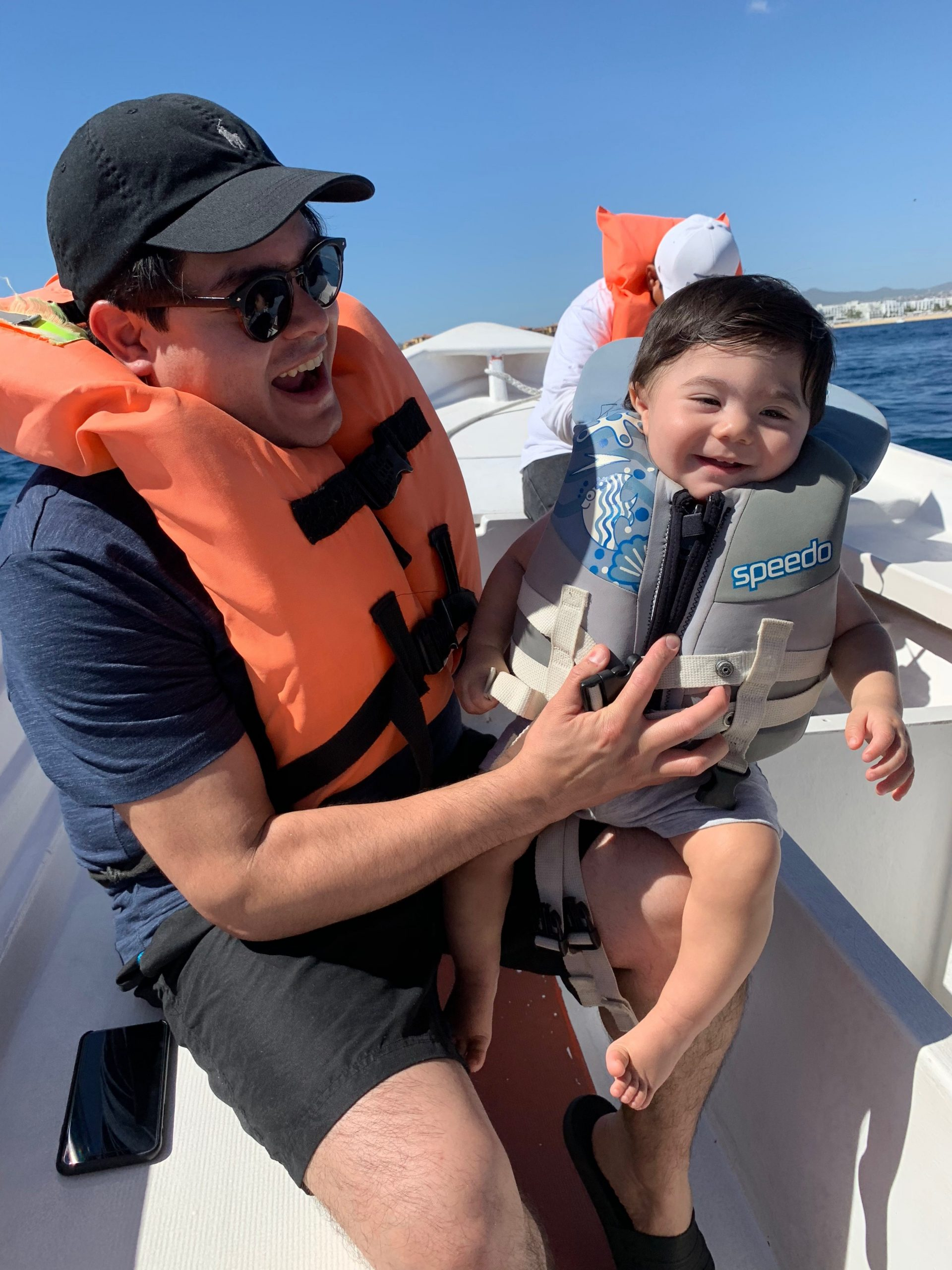boat ride in cabo with a baby