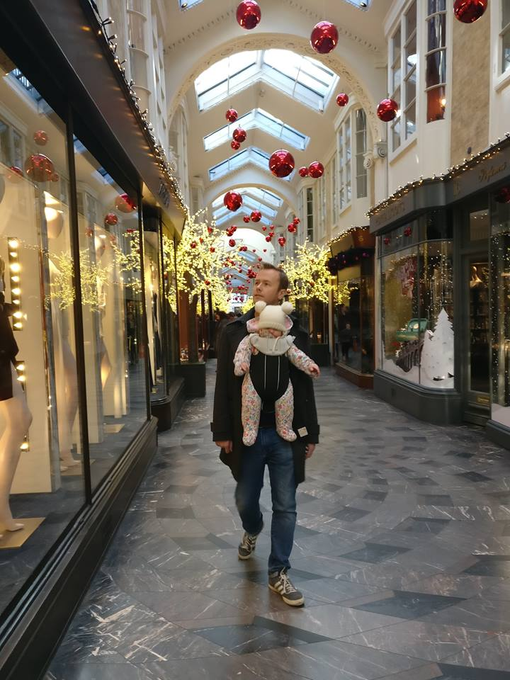 Burlington Arcade in London decroated for Christmas with a toddler