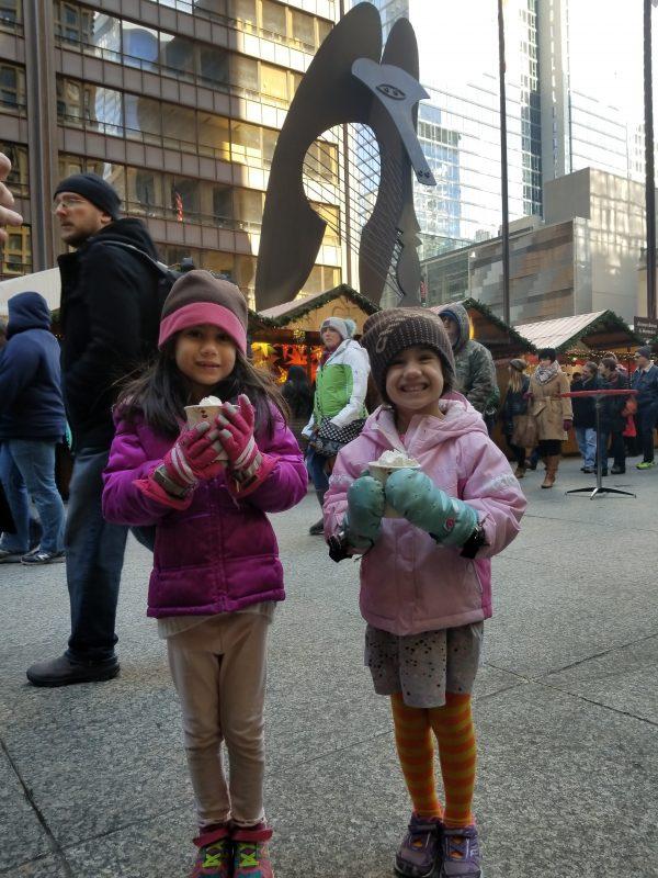 chriskindlmarket christmas market in downtown chicago with kids