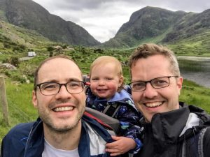 dads travel to dunloe gap in county kerry ireland with toddler