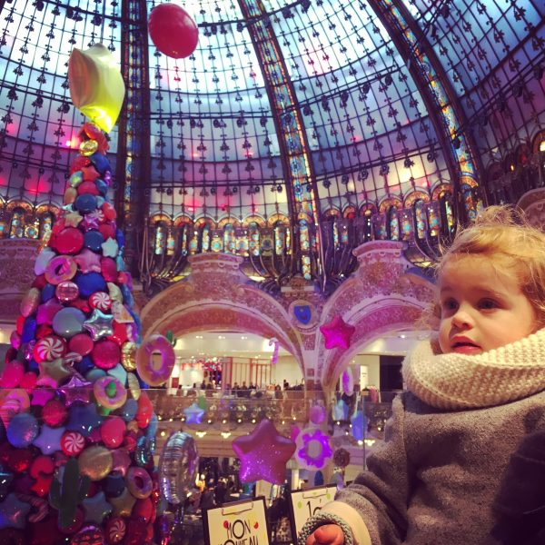 baby girl at galleries lafayette in paris christmas
