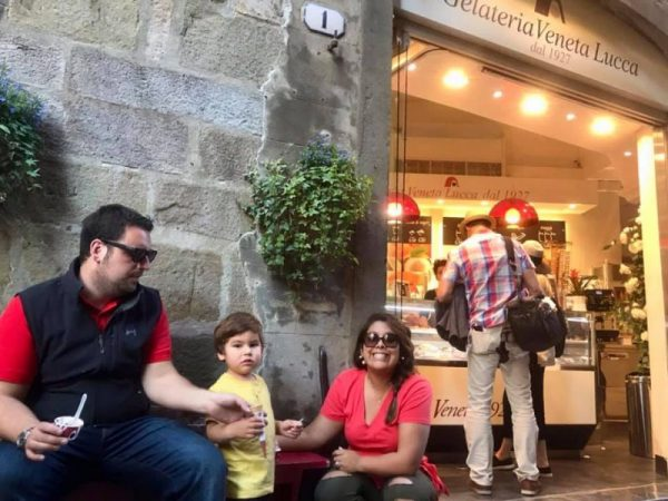 gelato in lucca with a toddler