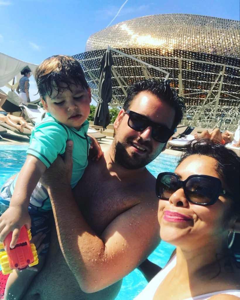 Family selfie at the water in Barcelona, Spain