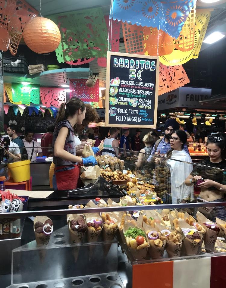 A shop at the Mercado de La Boqueria in Barcelona, Spain