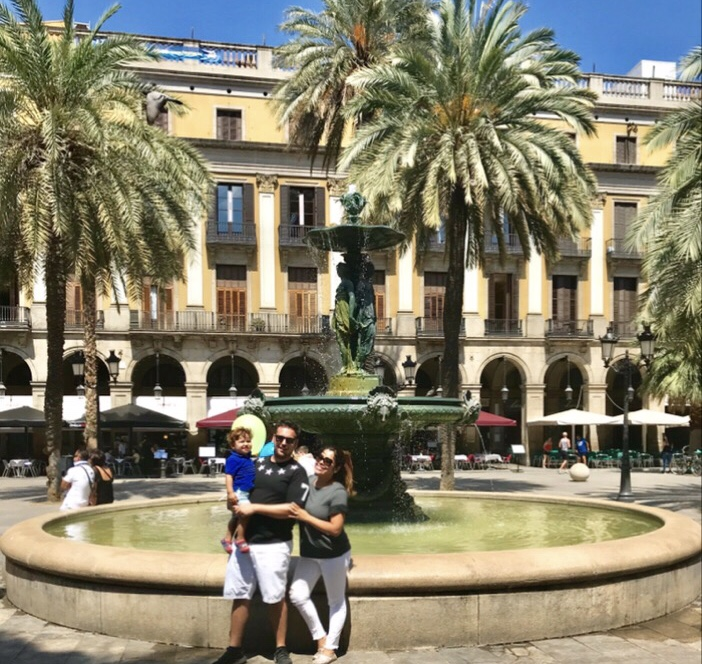Family at the Plaza Real in Barcelona, Spain