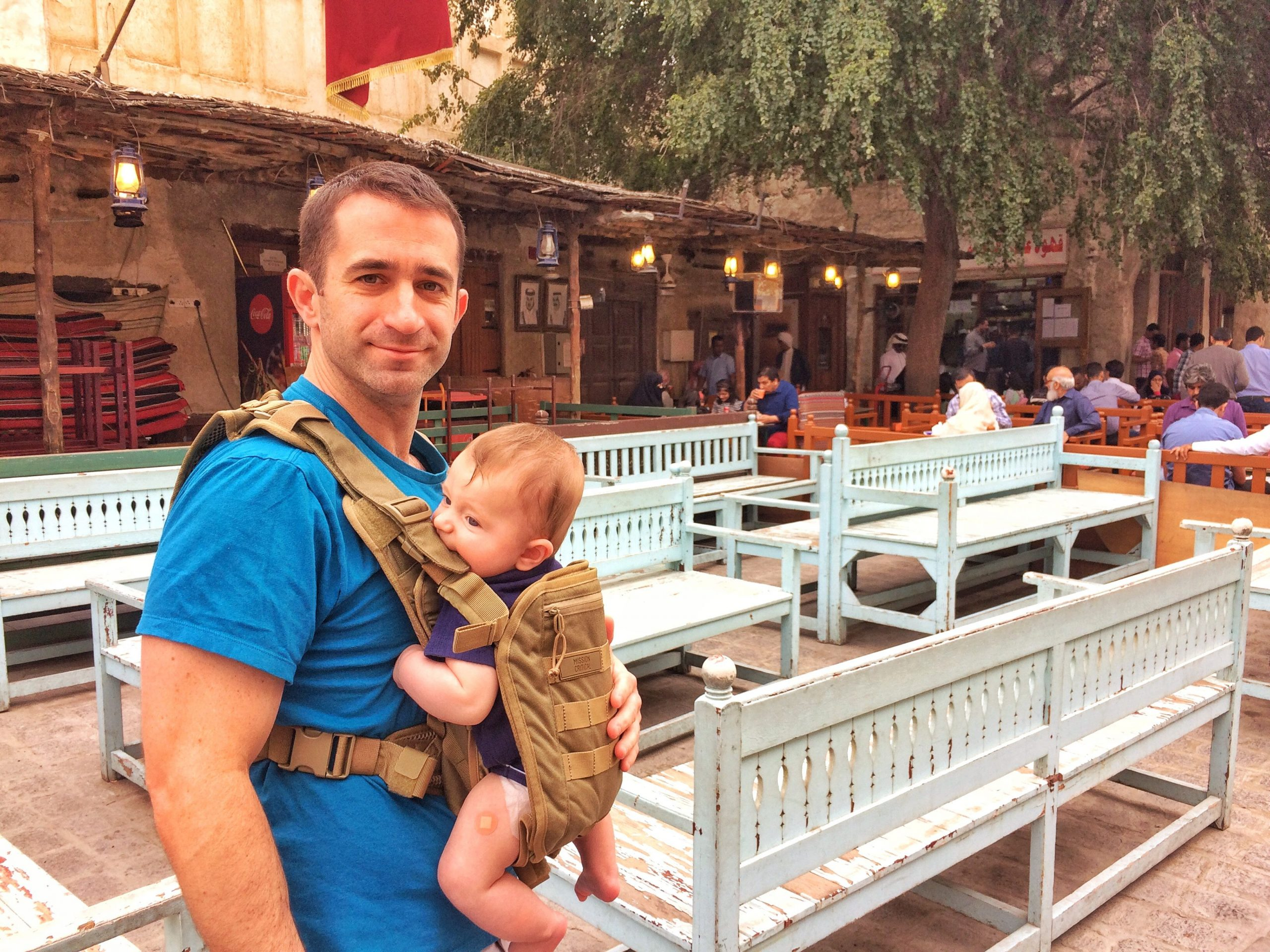 Souq Waqif in Doha, Qatar with a baby
