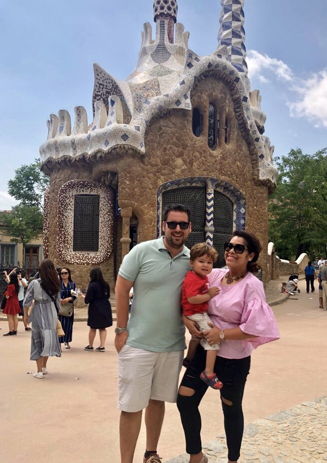 Family with toddler boy in Park Guell in Barcelona, Spain