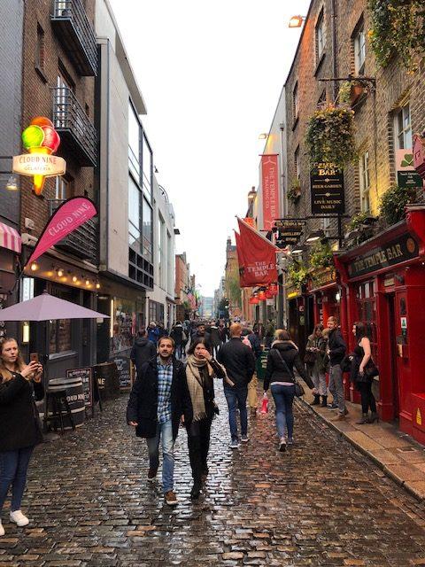 People walking through the street in Dublin, Ireland