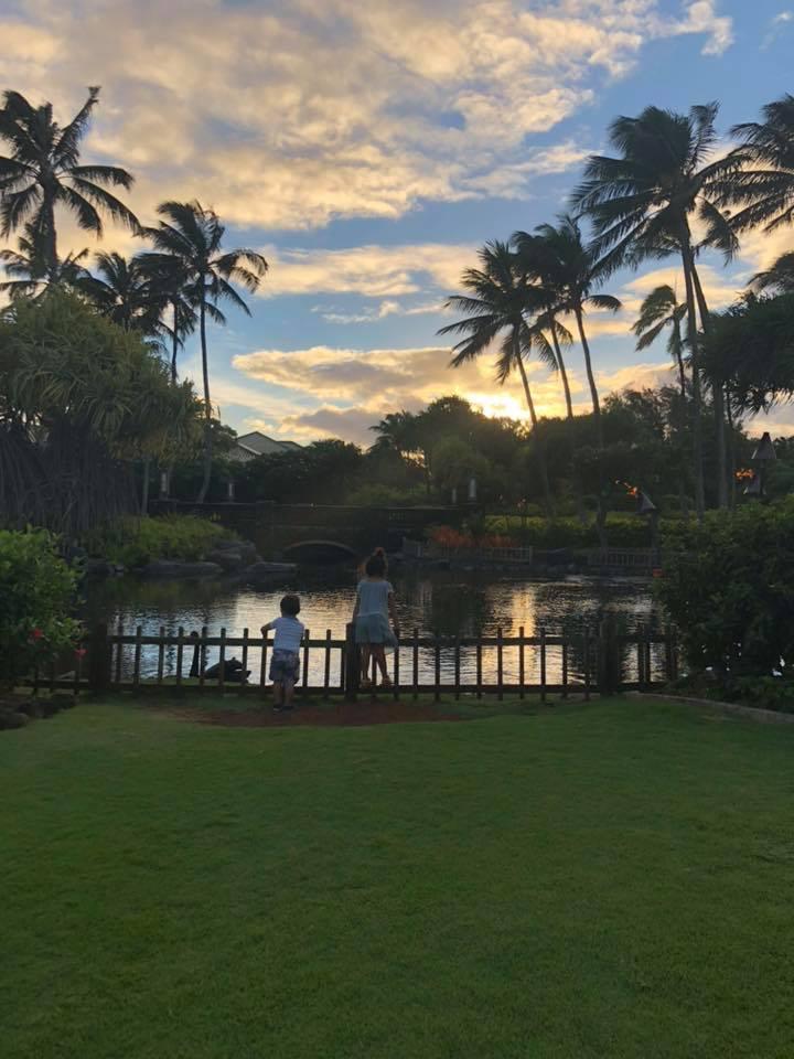 Kids enjoying a sunset by Lily Salo