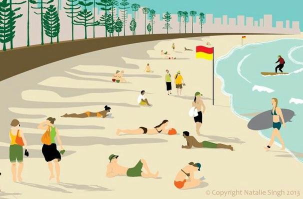 manly beach sydney illustration