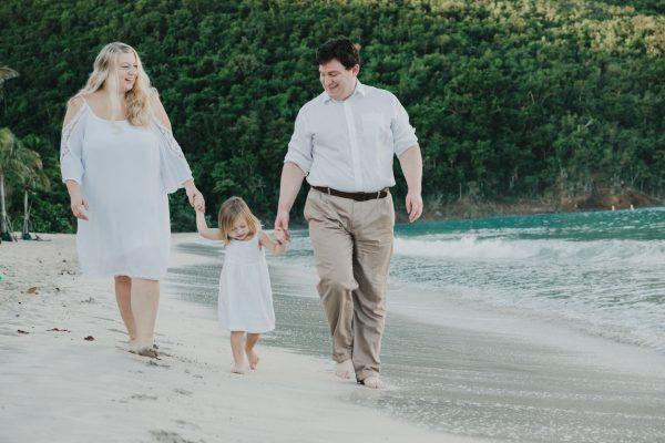 family walking on beach in st thomas