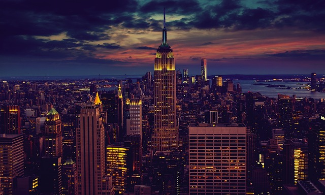 A view of the Empire State Building in New York City at dusk