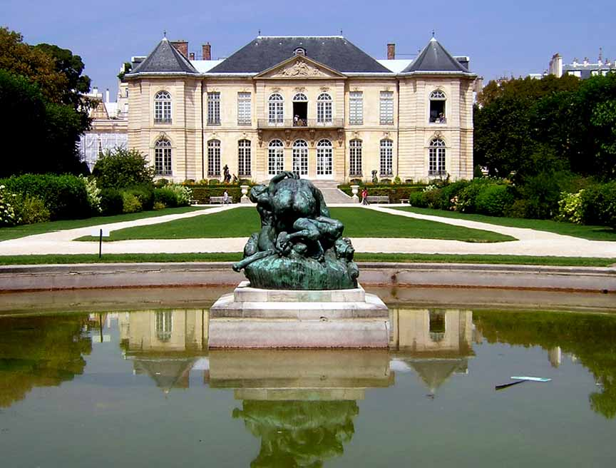 A view of the Musee Rodin in Paris, France from the fountain