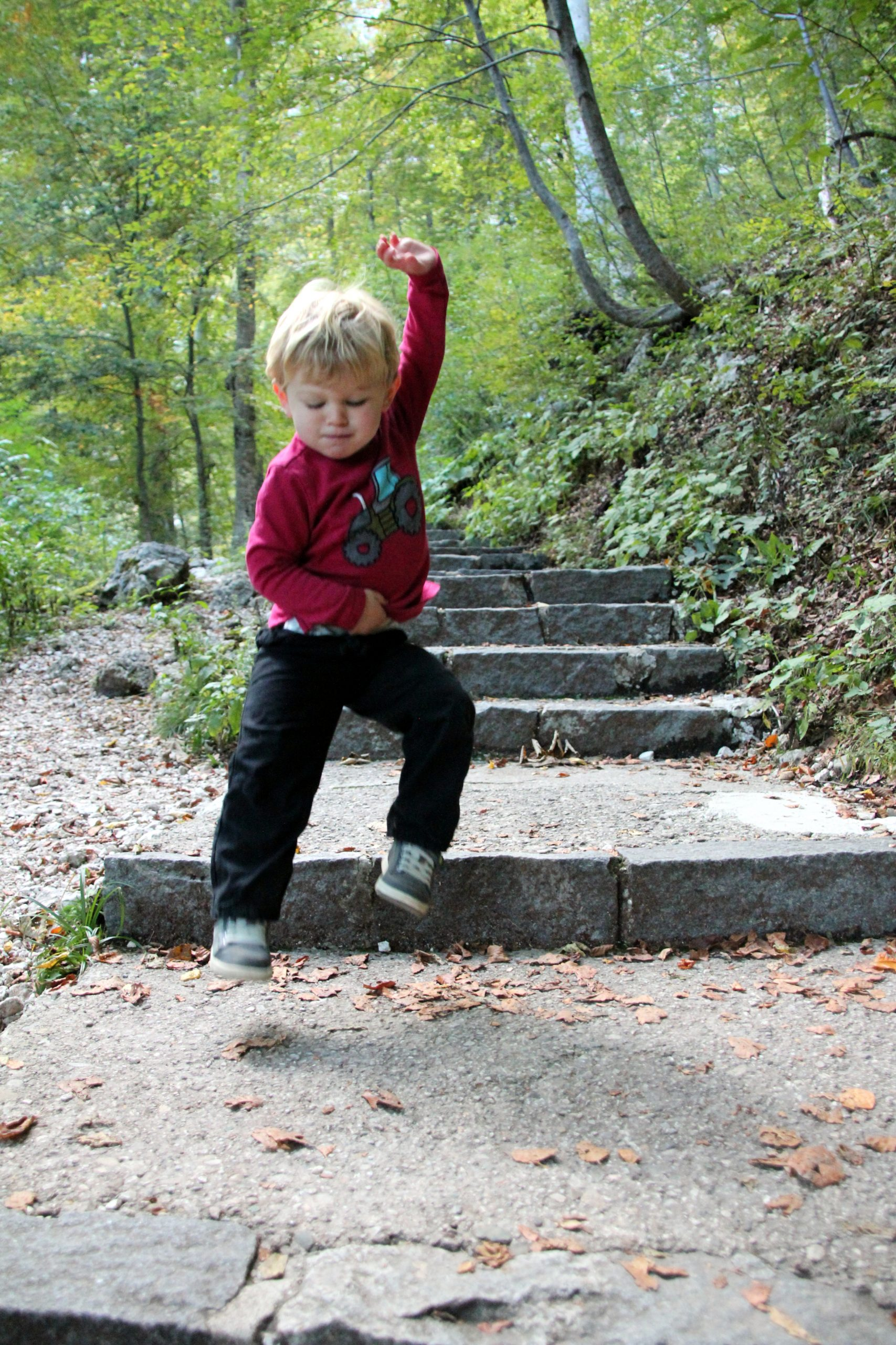 .Toddler boy playing on the step of the Slap Savica waterfall hike in Slovenia
