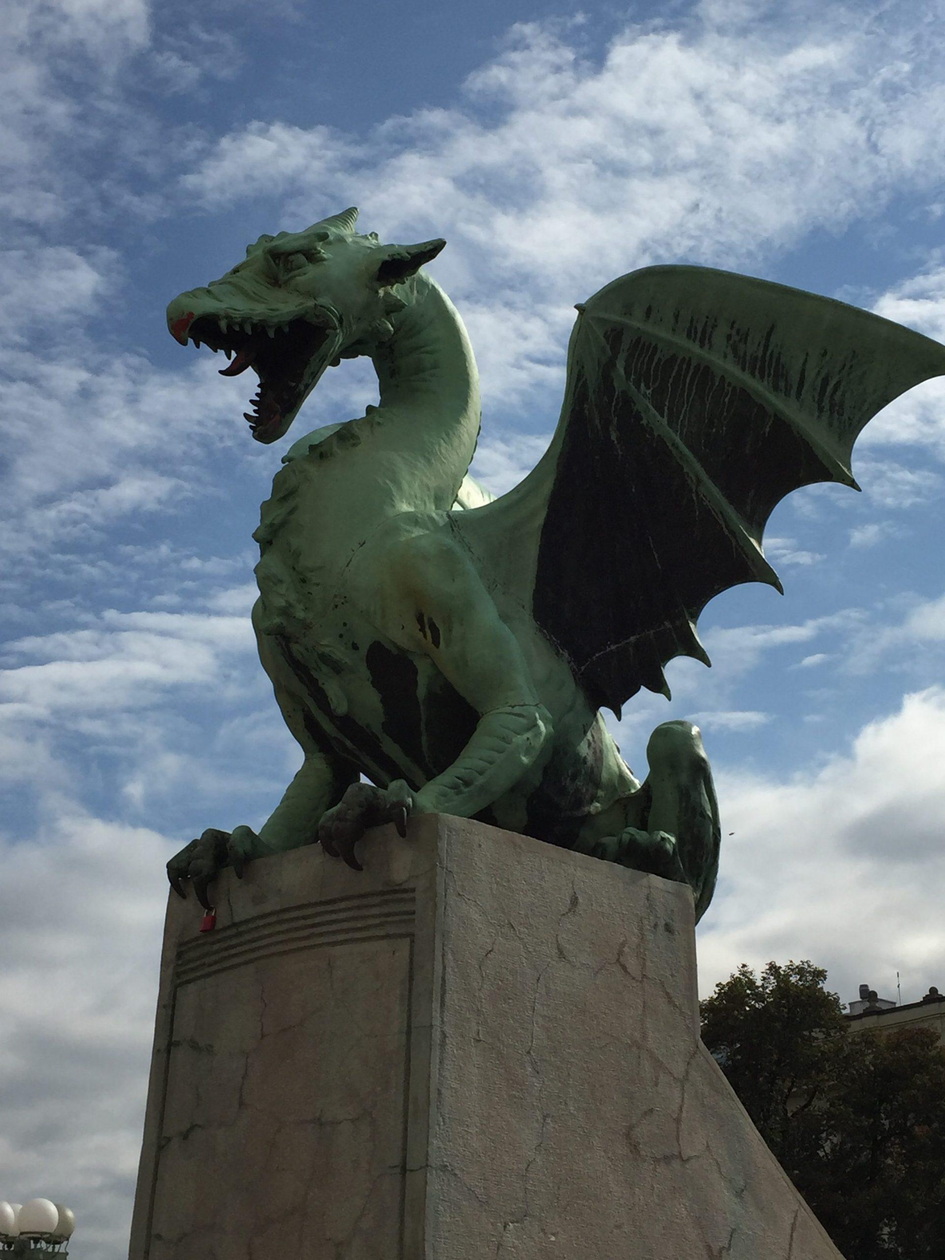 A Statue of a dragon in Ljubljanica, Slovenia