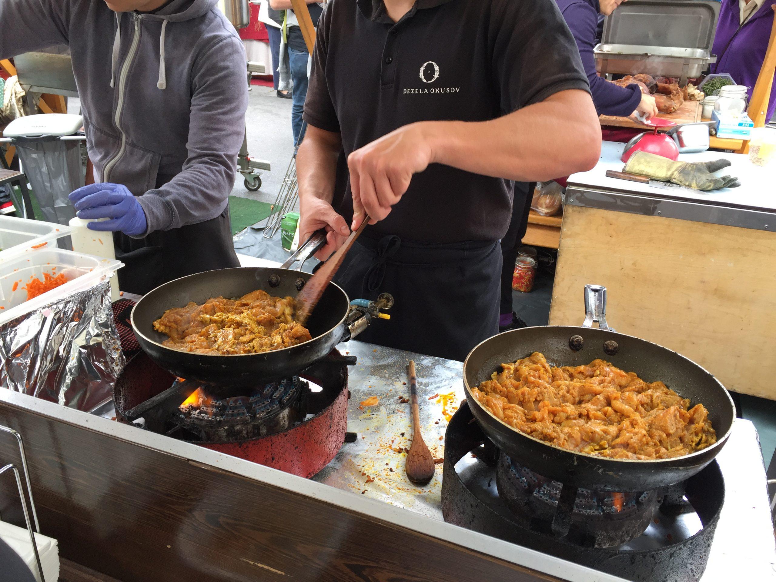 A Friday food festival in Ljubljanica, Slovenia