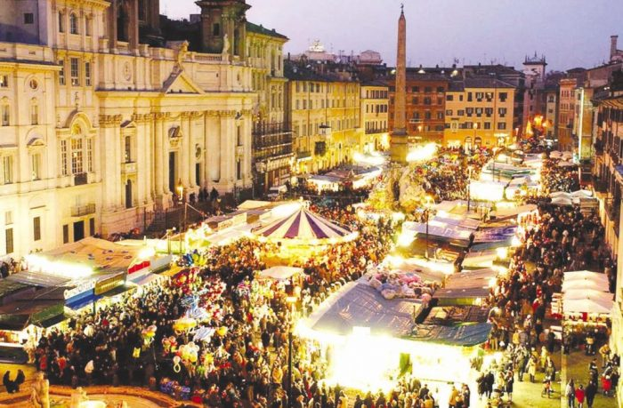 piazza navona christmas market in rome