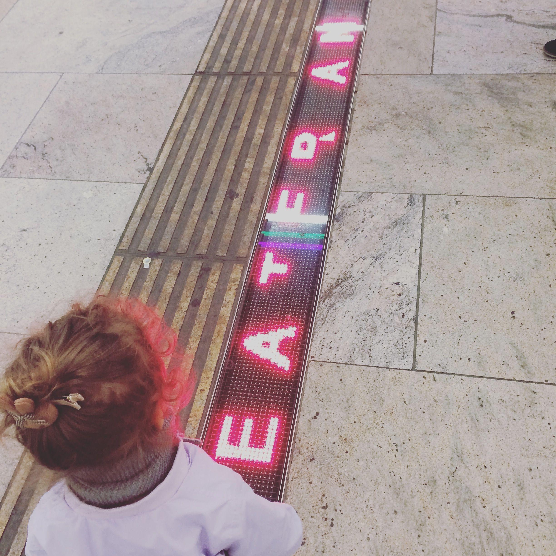 Karlsplatz station with a toddler