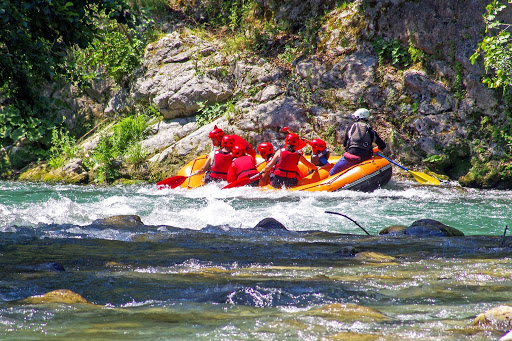 Whitewater rafting group with kids