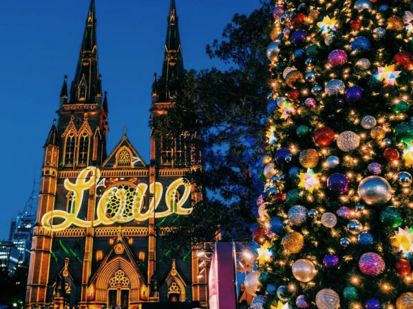 st mary's cathedral at christmas time in sydney