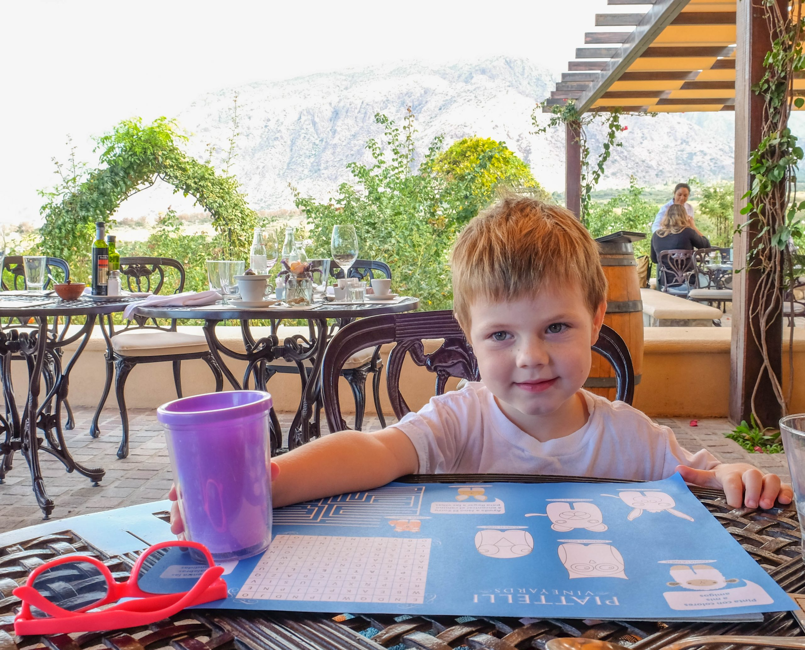 wine tasting with a toddler at restaurant with kids menu