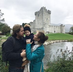 Ross Castle in Ireland with a baby