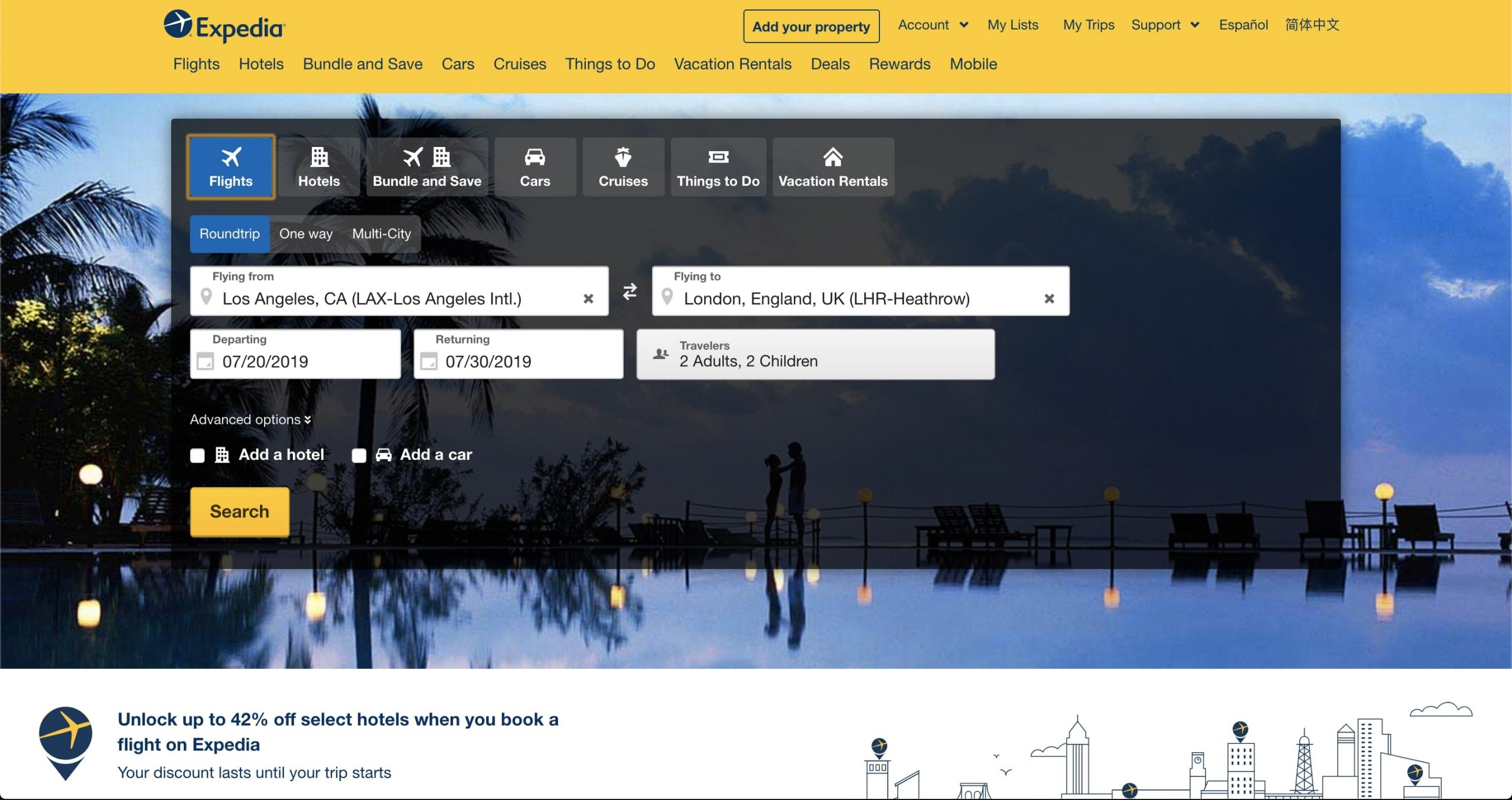 Expedia booking engine search page