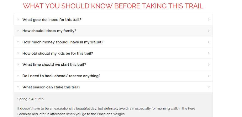 Bebe Voyage trail FAQ section