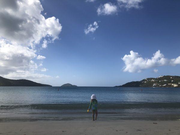 child on strickling beach st thomas caribbean
