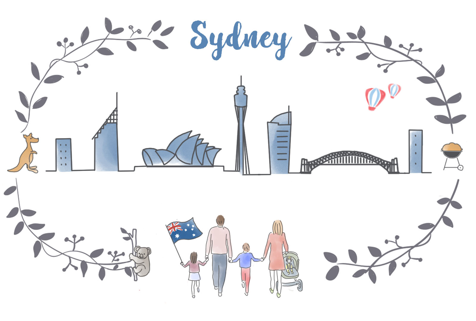 Cover art for Sydney travel guide with skyline
