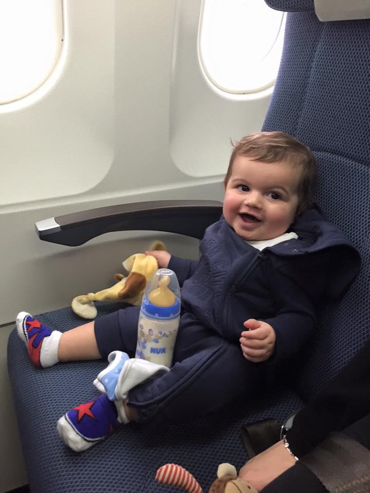 tybee baby milk on plane
