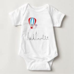 Baby Romper with World skyline front