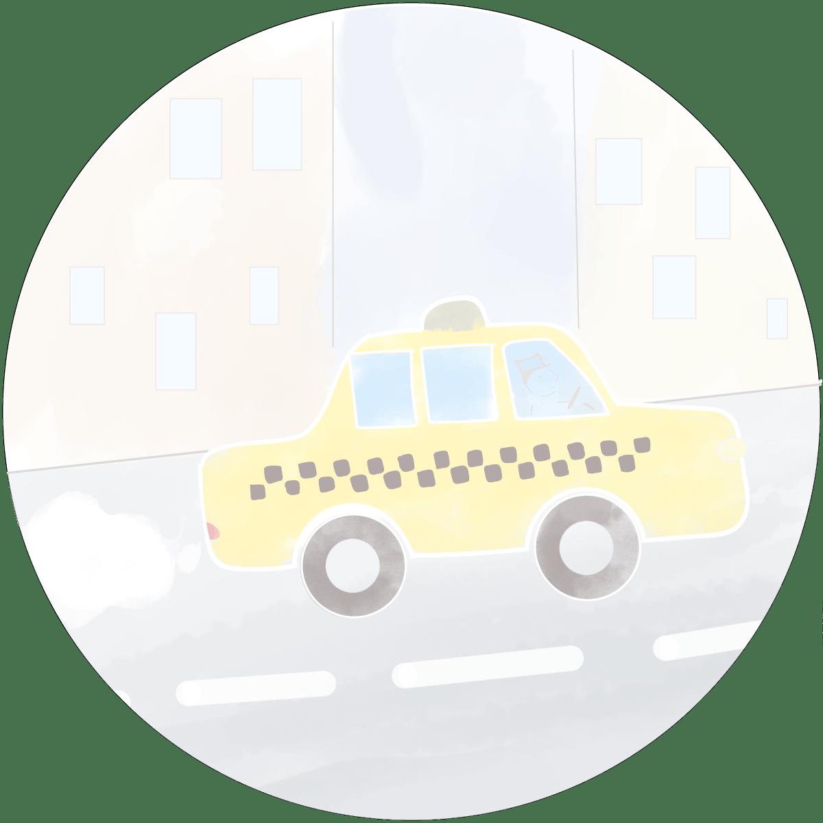 yellow cab cartoon bebevoyage chicago