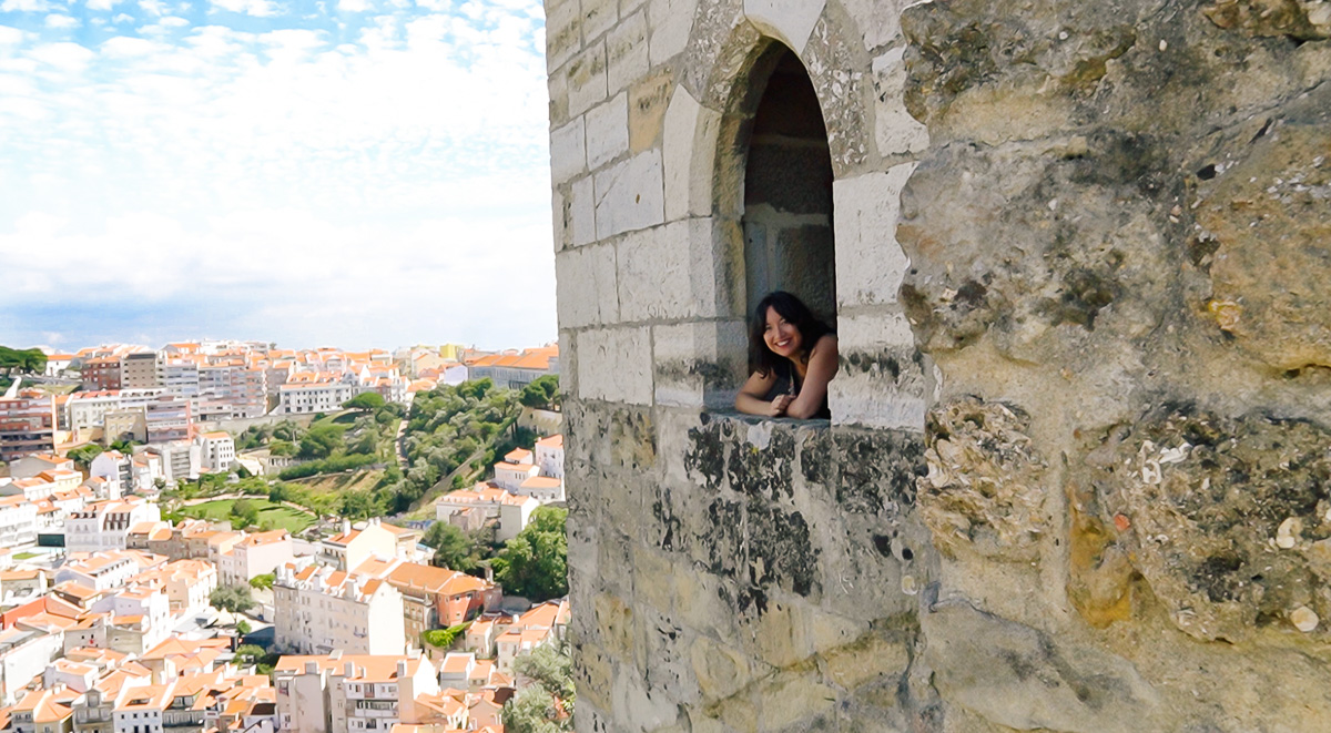 Checking out the Sao Jorge Castle in Lisbon, Portugal!