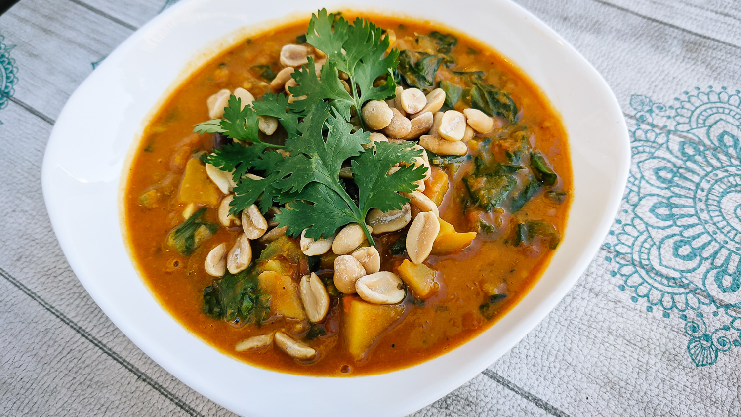 Groundnut stew from Mali is a delicious and warming soup that is perfect for a cold winter night.