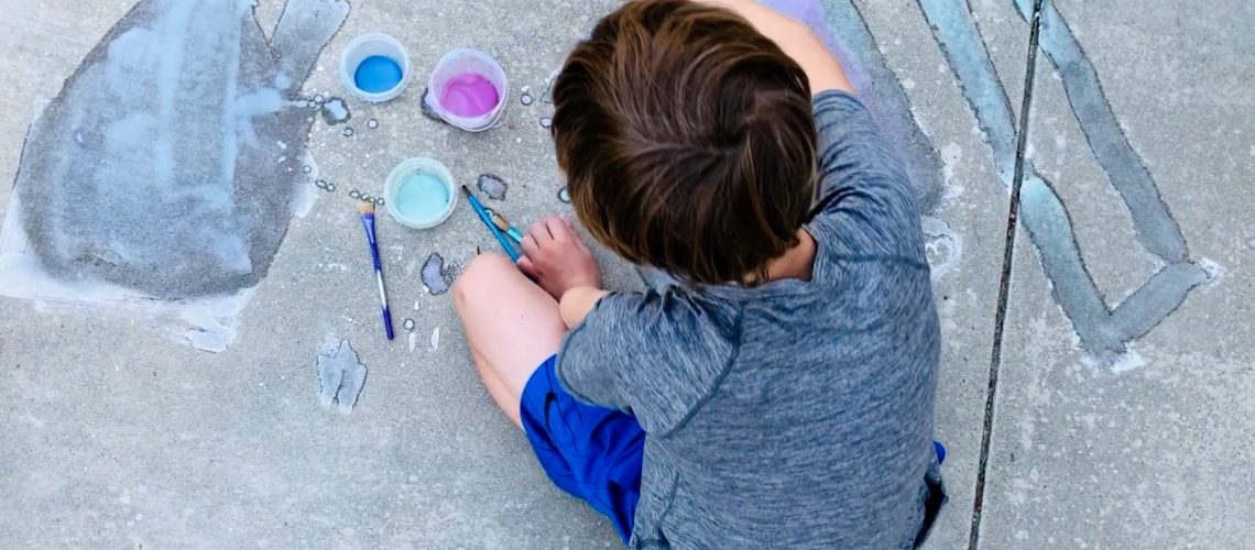 sidewalk painting is a great creative activity for kids